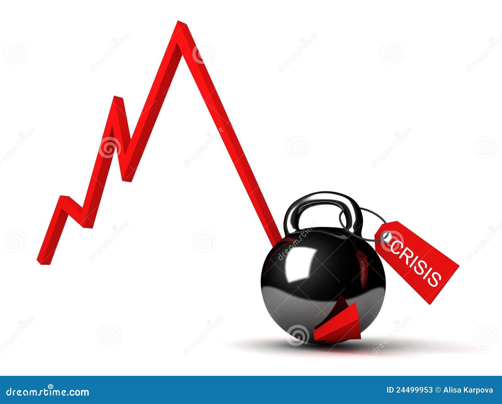 Schema di concetto di crisi finanziaria di affari