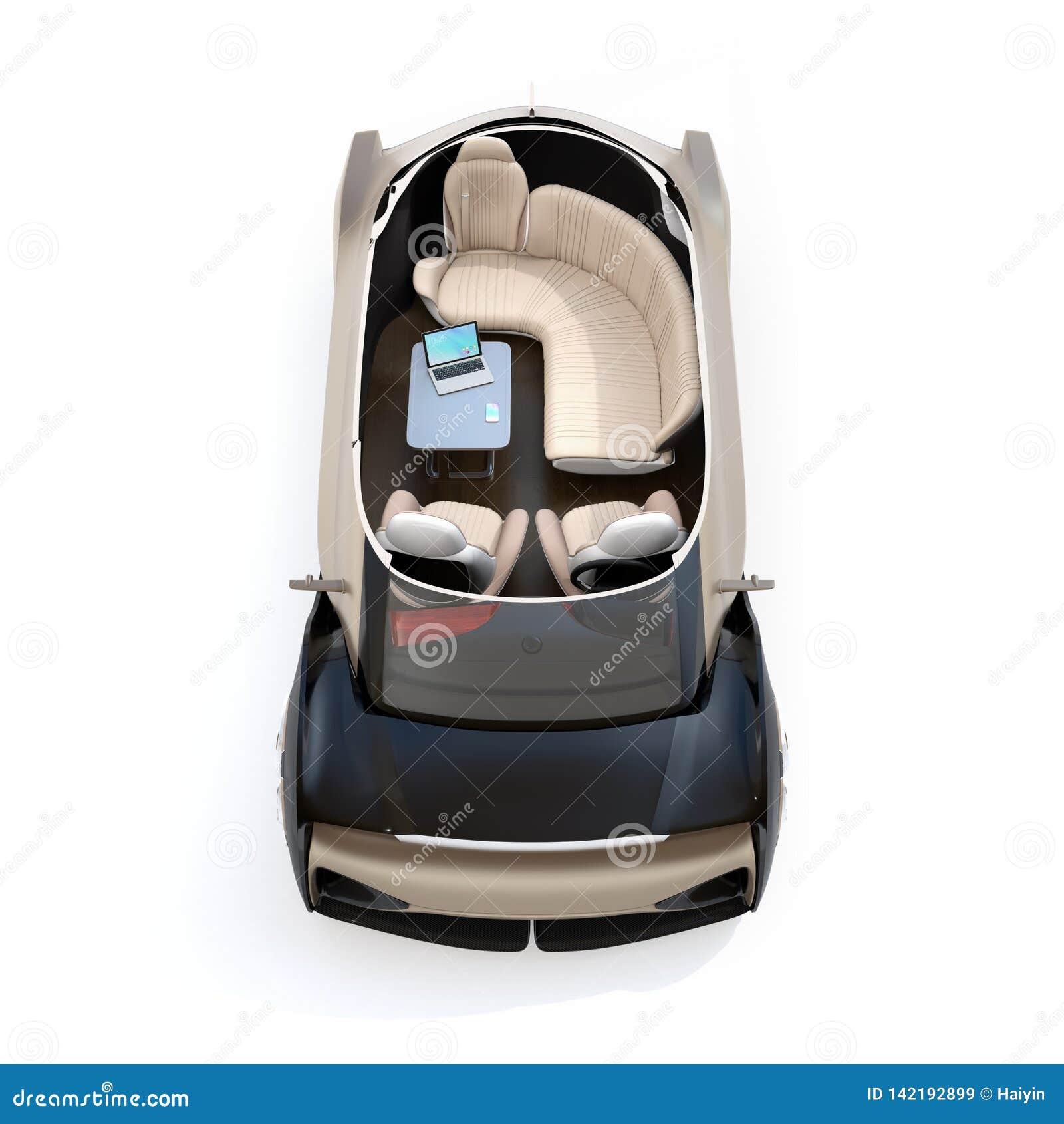 Schema zelf drijf elektrische die auto op witte achtergrond wordt geïsoleerd Zitkamerstoel en achtergedeelte die zetels onder oge