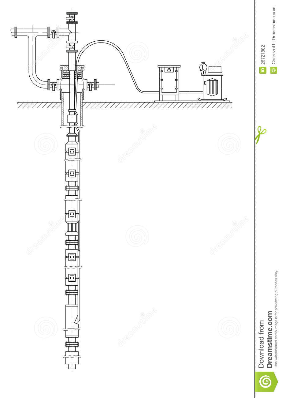 schematic of an oil well stock illustration  illustration