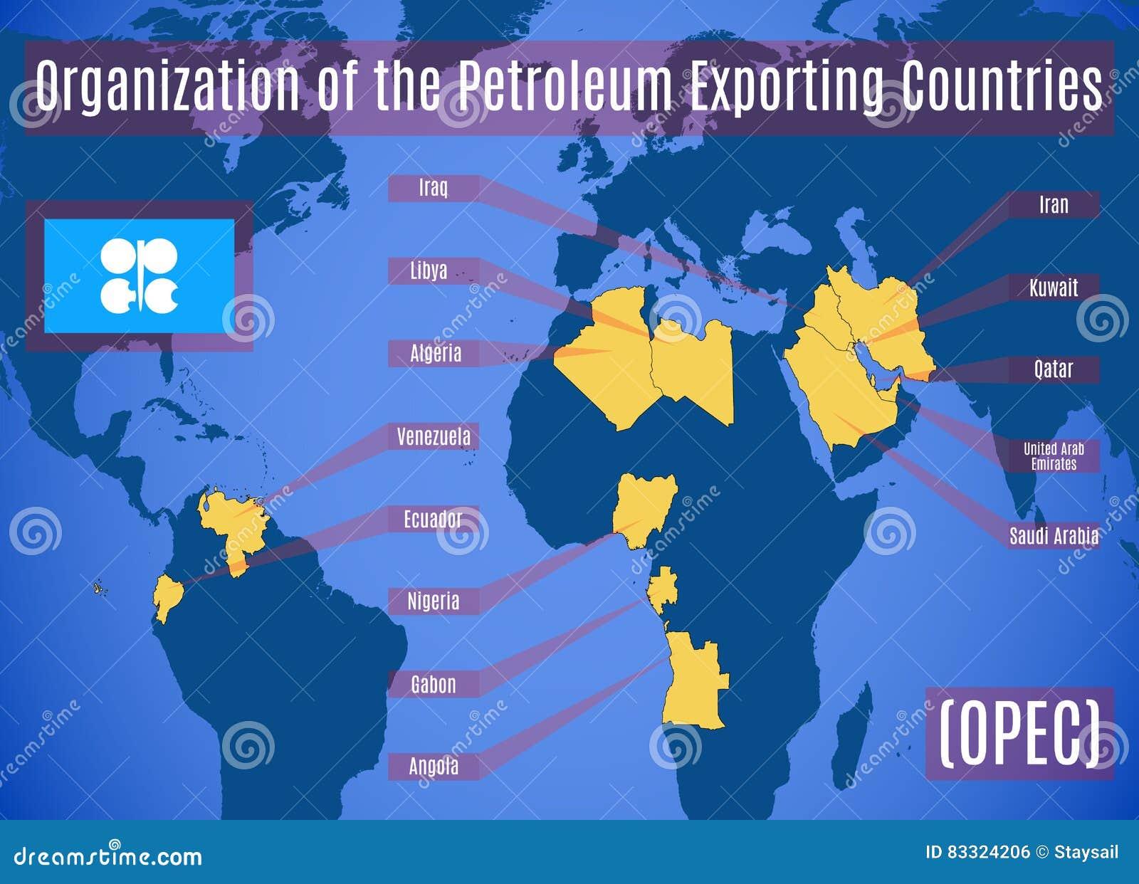 Schematische kaart van de Organisatie van de Olieuitvoerende Landen