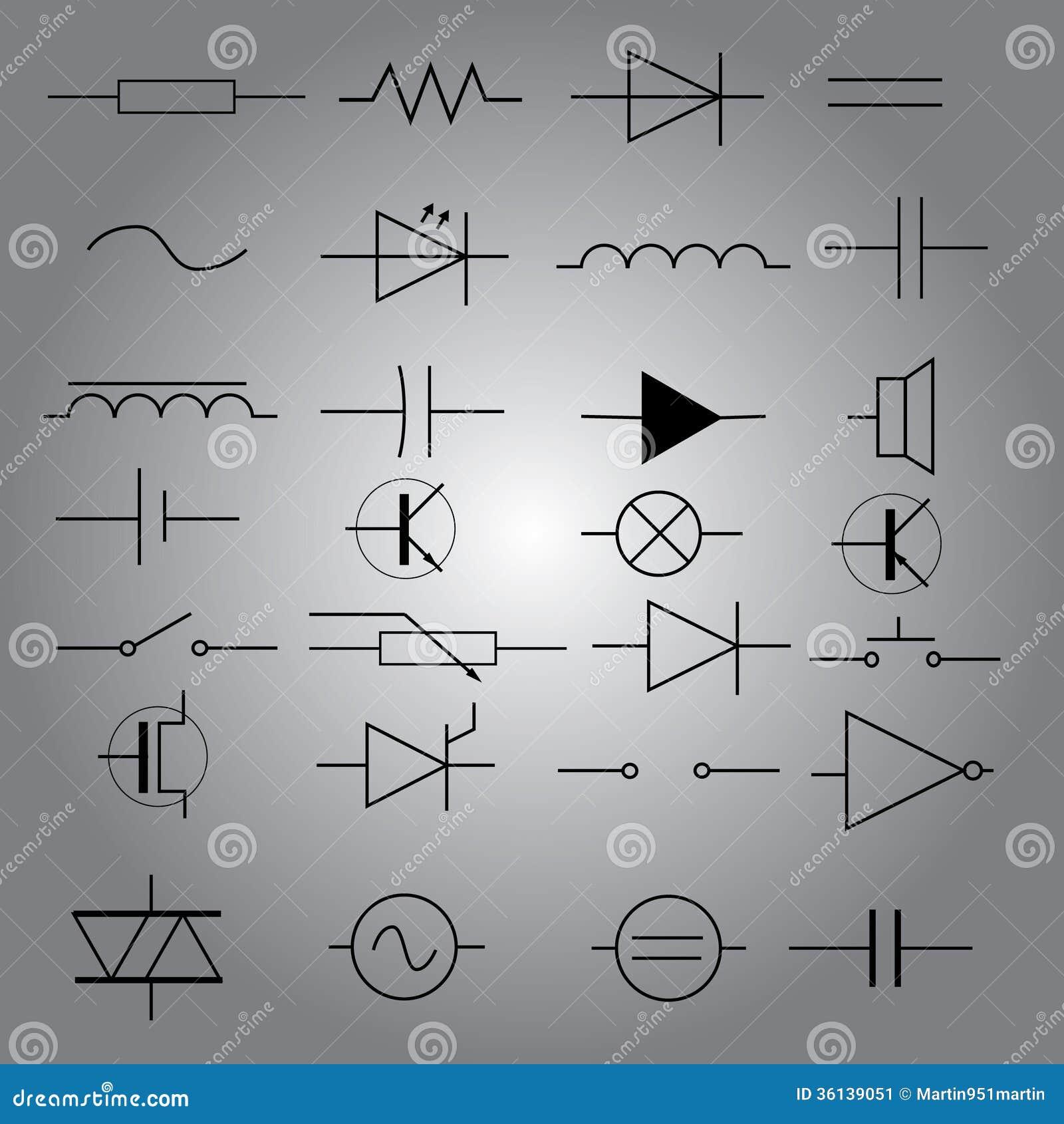 Schematische Symbole In Der Elektrotechnikikone Gesetztes Eps10 ...