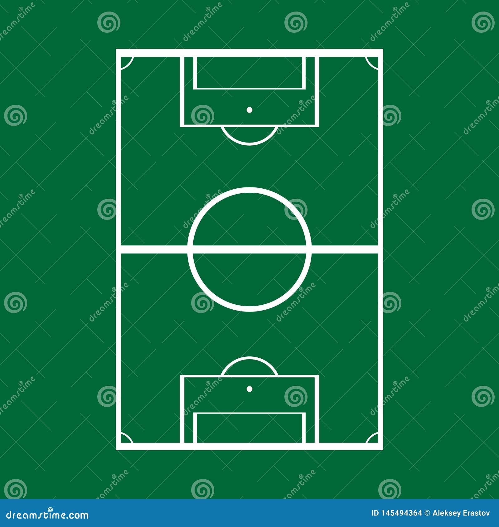 Schematische tekening van een voetbalgebied, hoogste mening Vector illustratie