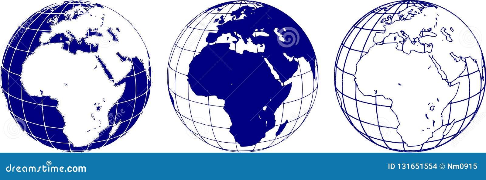 Schematyczny wizerunek wschodnia hemisfera planety ziemia