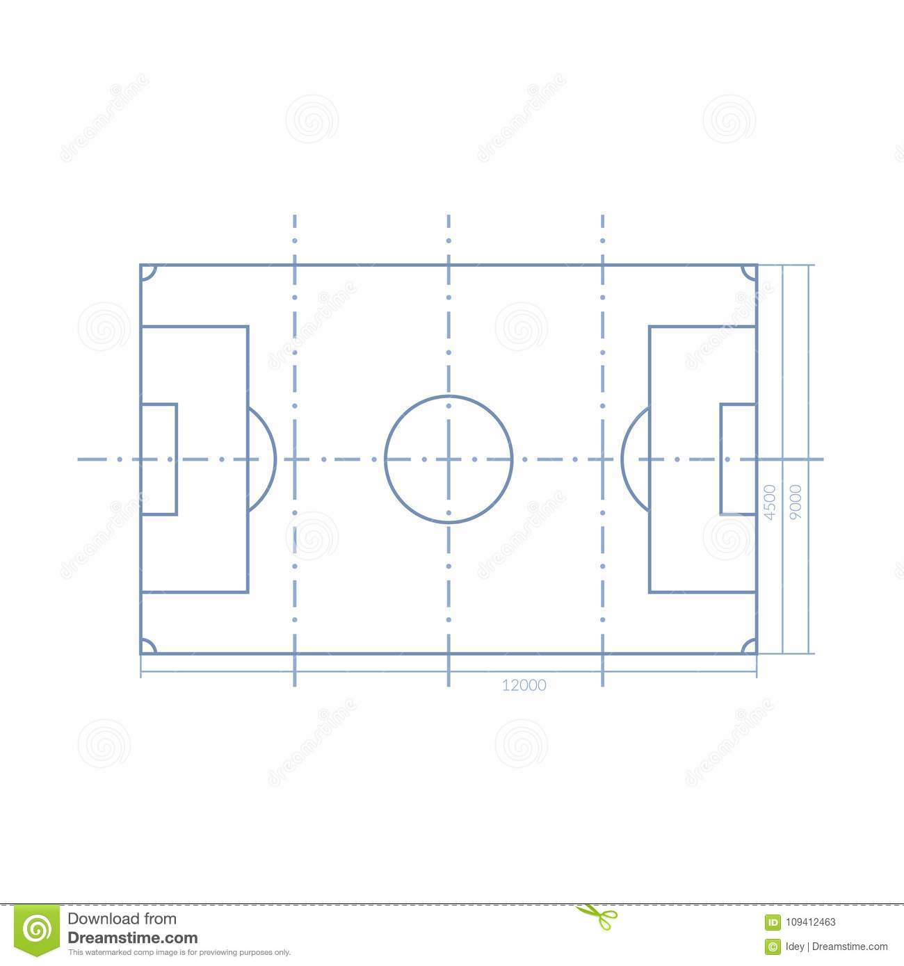 Scheme Realistic Football Field Template Playground With Grass And
