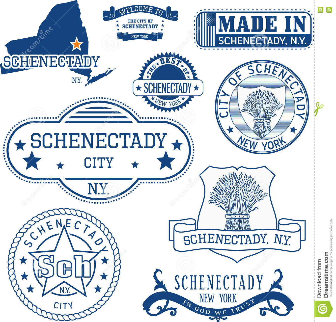 Schenectady New York Map.Schenectady New York Set Of Stamps And Signs Stock Vector