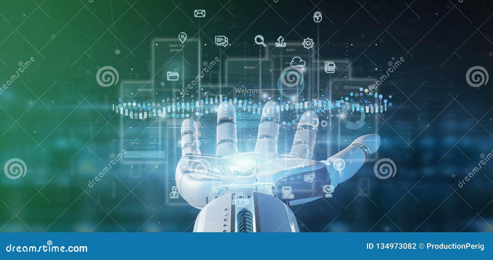 Schermi dell interfaccia utente della tenuta della mano del cyborg con la rappresentazione dell icona, di stats e di dati 3d