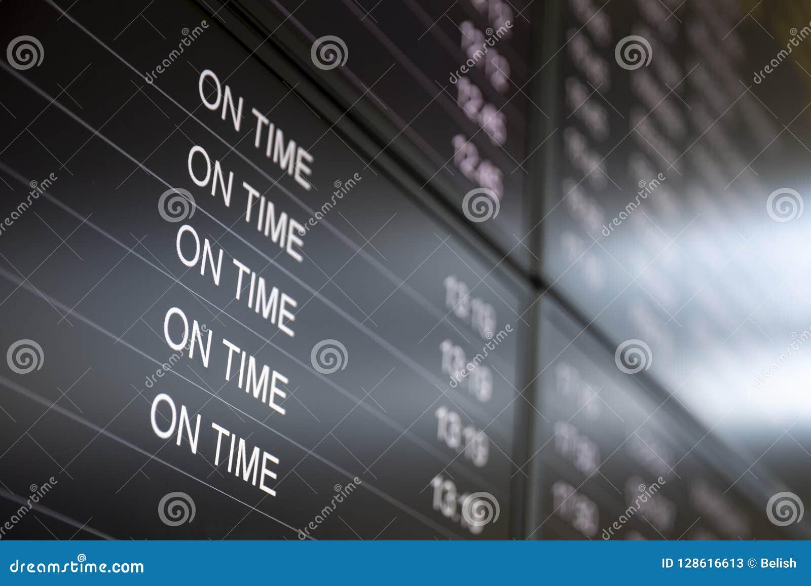 Schermi di monitor di tempo di imbarco in tempo