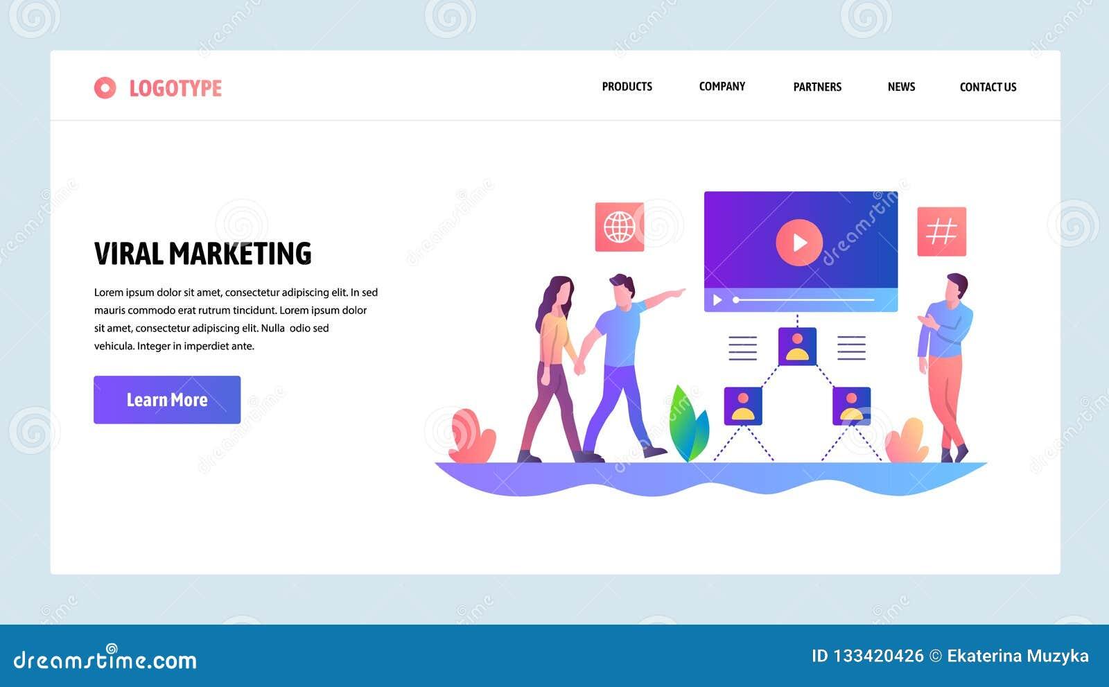 Schermi onboarding del sito Web Pubblicità di Digital e vendita virale online Modello dell insegna di vettore del menu per il sit