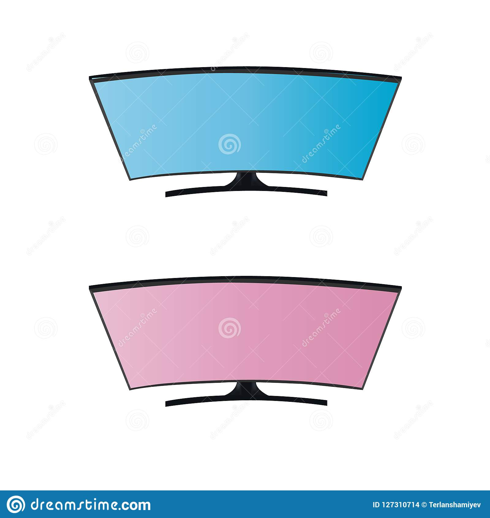 Schermo in bianco blu e rosa TV astuta di Curveds Fondo in grafica vettoriale