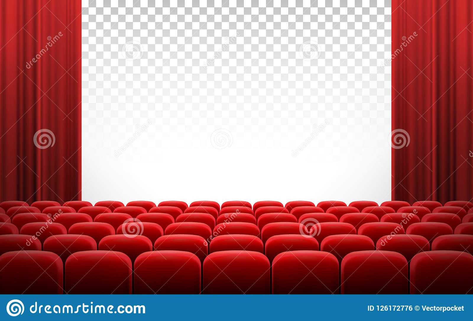 Sedie Rosse Trasparenti.Schermo Bianco Del Teatro Del Cinema Con Le Tende E Le Sedie