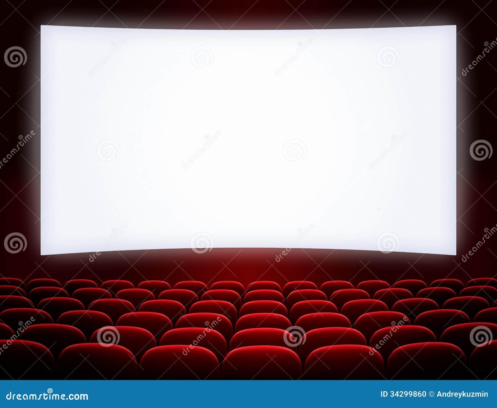 Schermo Del Cinema Con I Sedili Fotografia Stock - Immagine: 34299860
