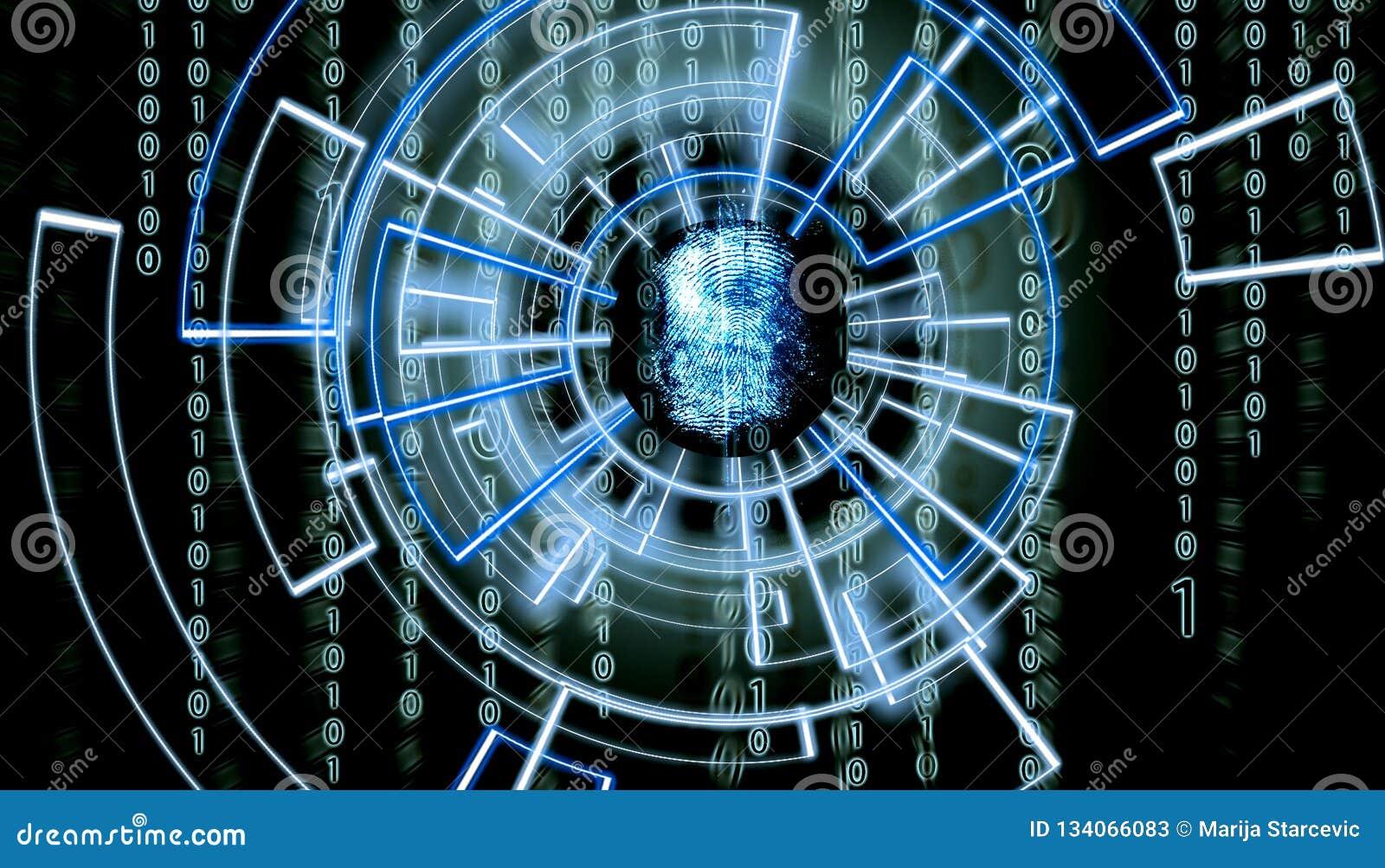 Schermo del OM dell impronta digitale astratta con il codice della matrice nei precedenti e patern virtuali circondandolo