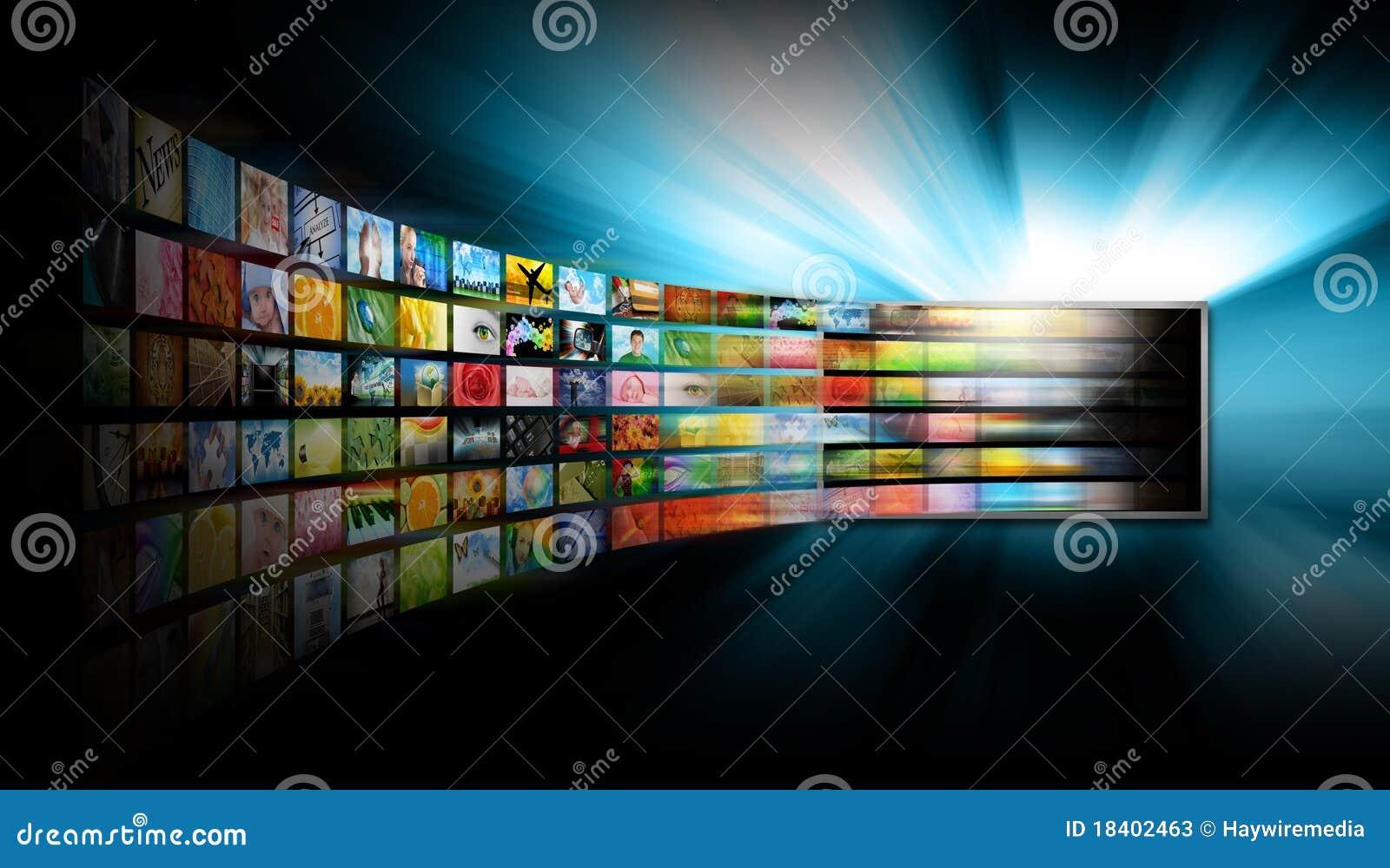 Schermo della televisione di media con la galleria di immagine