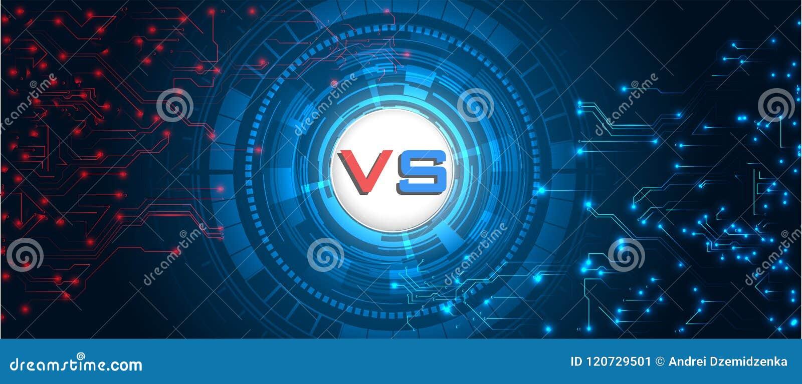 Schermo di RGBVersus Ambiti di provenienza di lotta faccia a faccia, rosso contro il blu Fondo digitale e tecnologico astratto