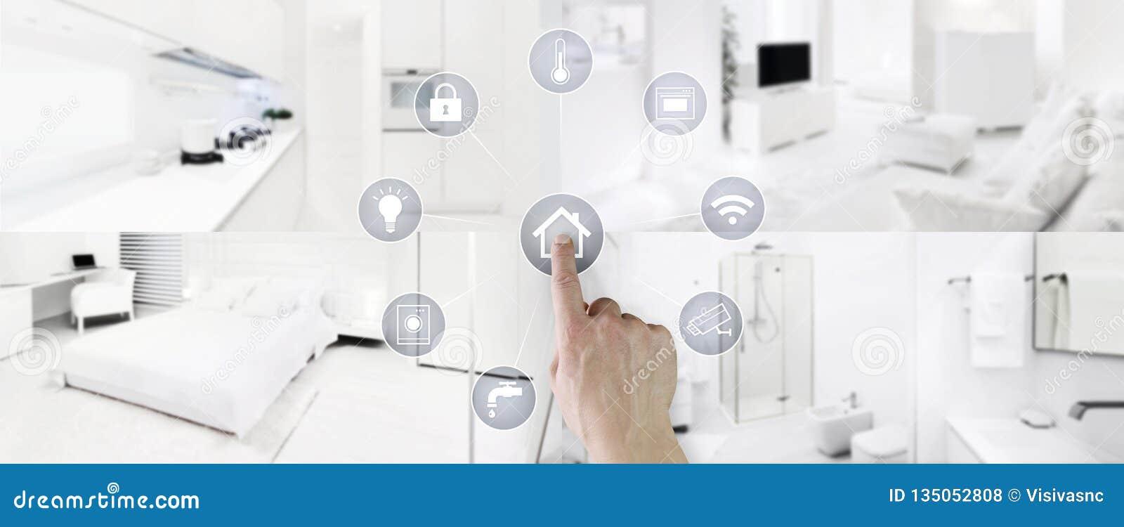 Schermo domestico astuto delle icone di tocco della mano di concetto di controllo con gli interni, il salone, la cucina, la camer