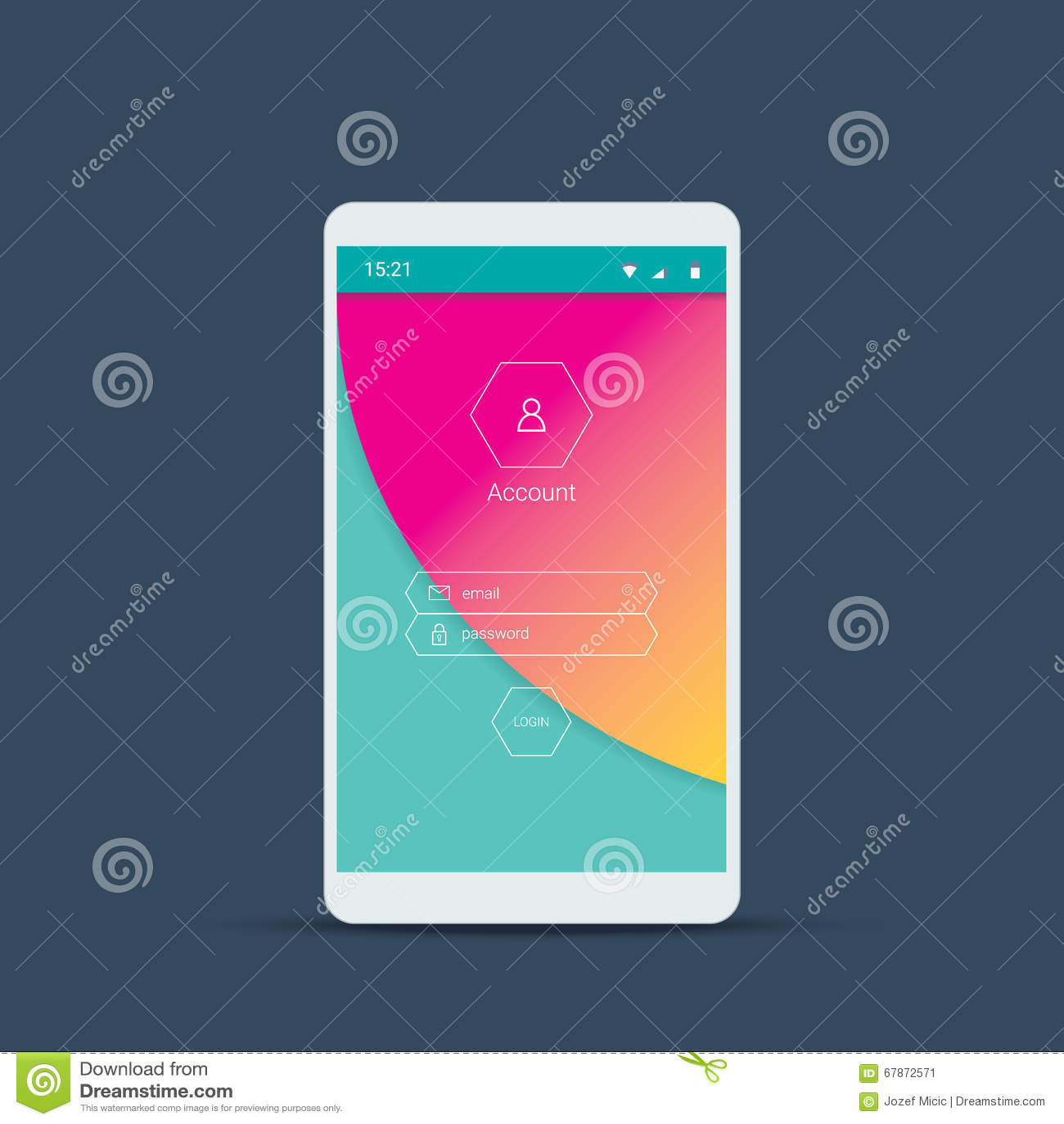 Schermo mobile dell interfaccia utente con il fondo materiale di progettazione Entri le icone ed i bottoni del menu sul contesto