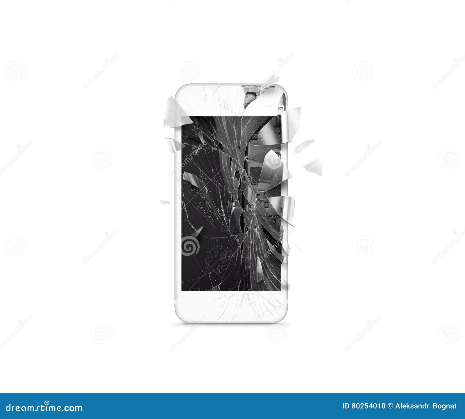 Schermo mobile rotto del telefono cellulare, cocci sparsi, isolati