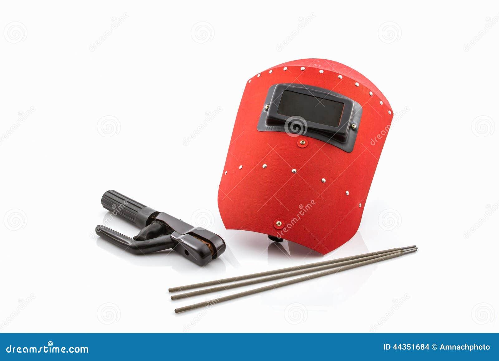 Schermo protettivo e barretta-supporto rossi con il wir degli elettrodi per saldatura