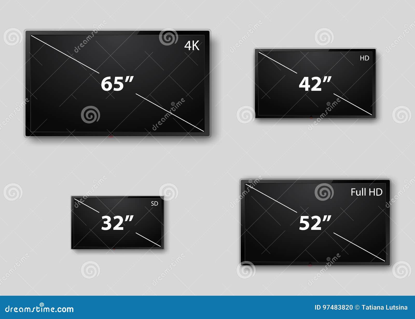 Schermo realistico della TV Pannello LCD alla moda moderno, tipo del LED