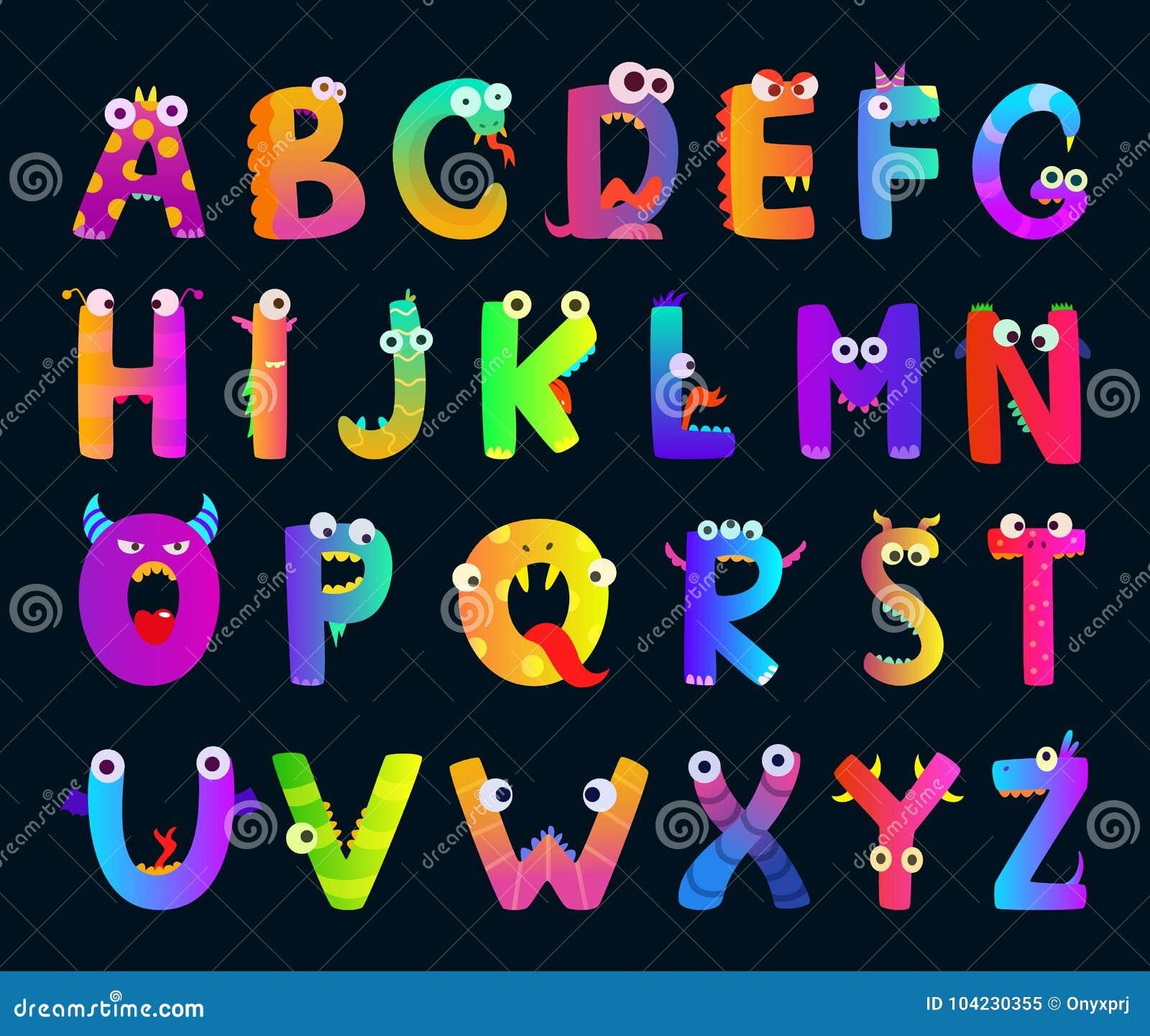 Scherza l alfabeto con le lettere divertenti del mostro Caratteri svegli di vettore