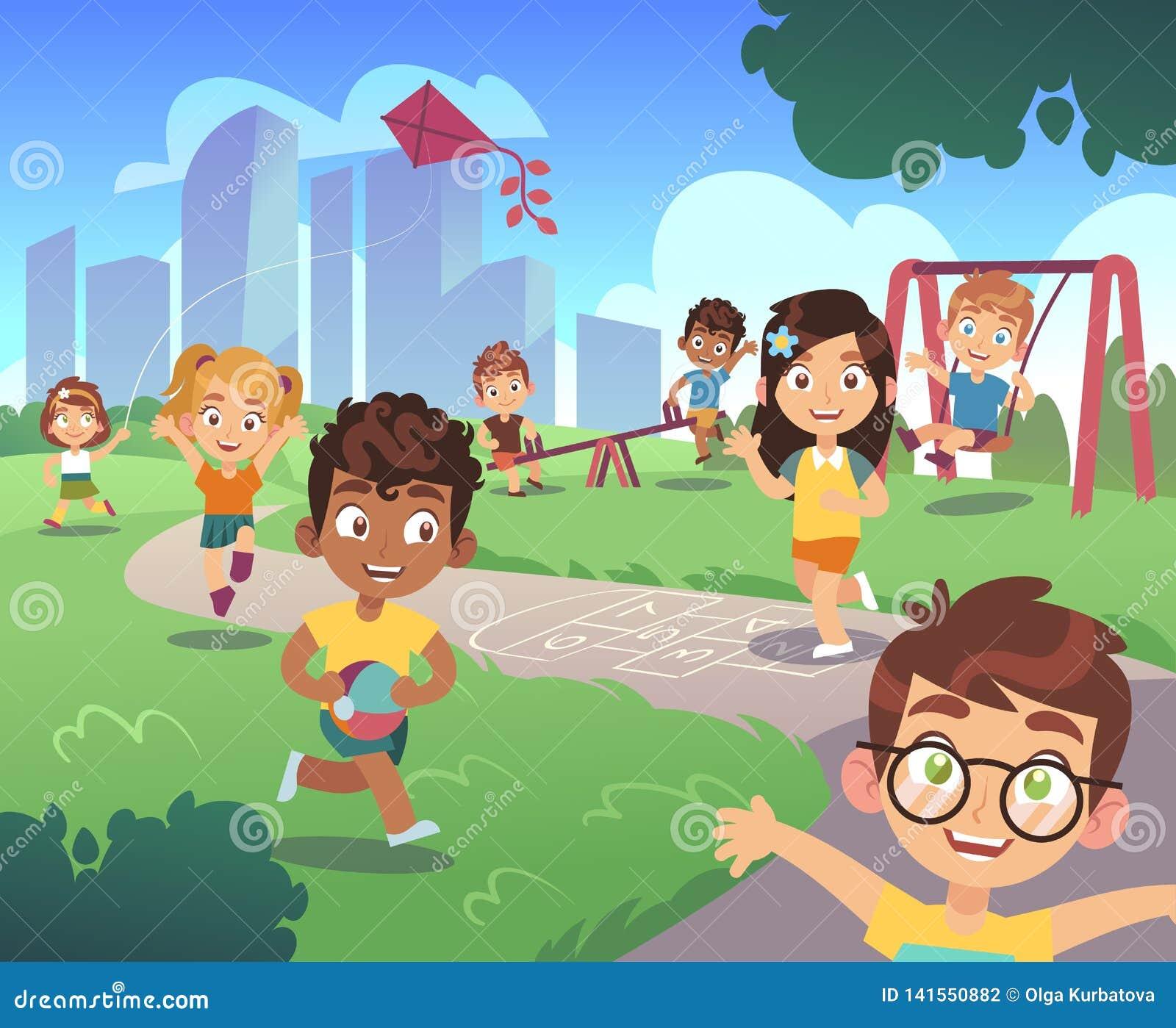 Scherzt Spielplatz Spielkindernaturvorschulkind im Freien, das Gartenspaßtätigkeitsunterhaltungs-Karikaturhintergrund spielt