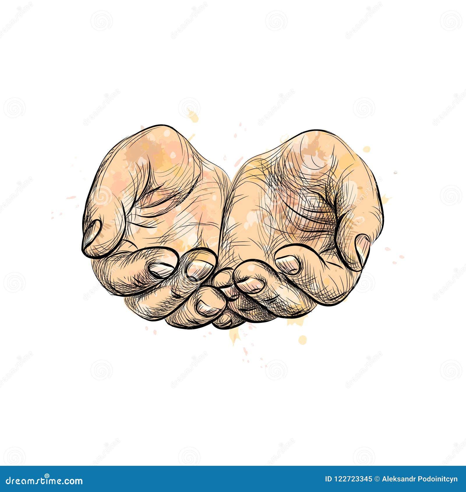 Schets die handen bedelen