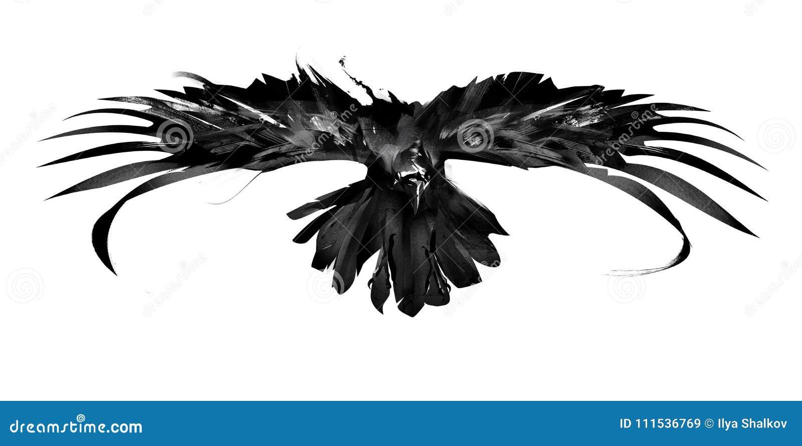 Schets het vliegen het vooraanzicht van de vogelkraai