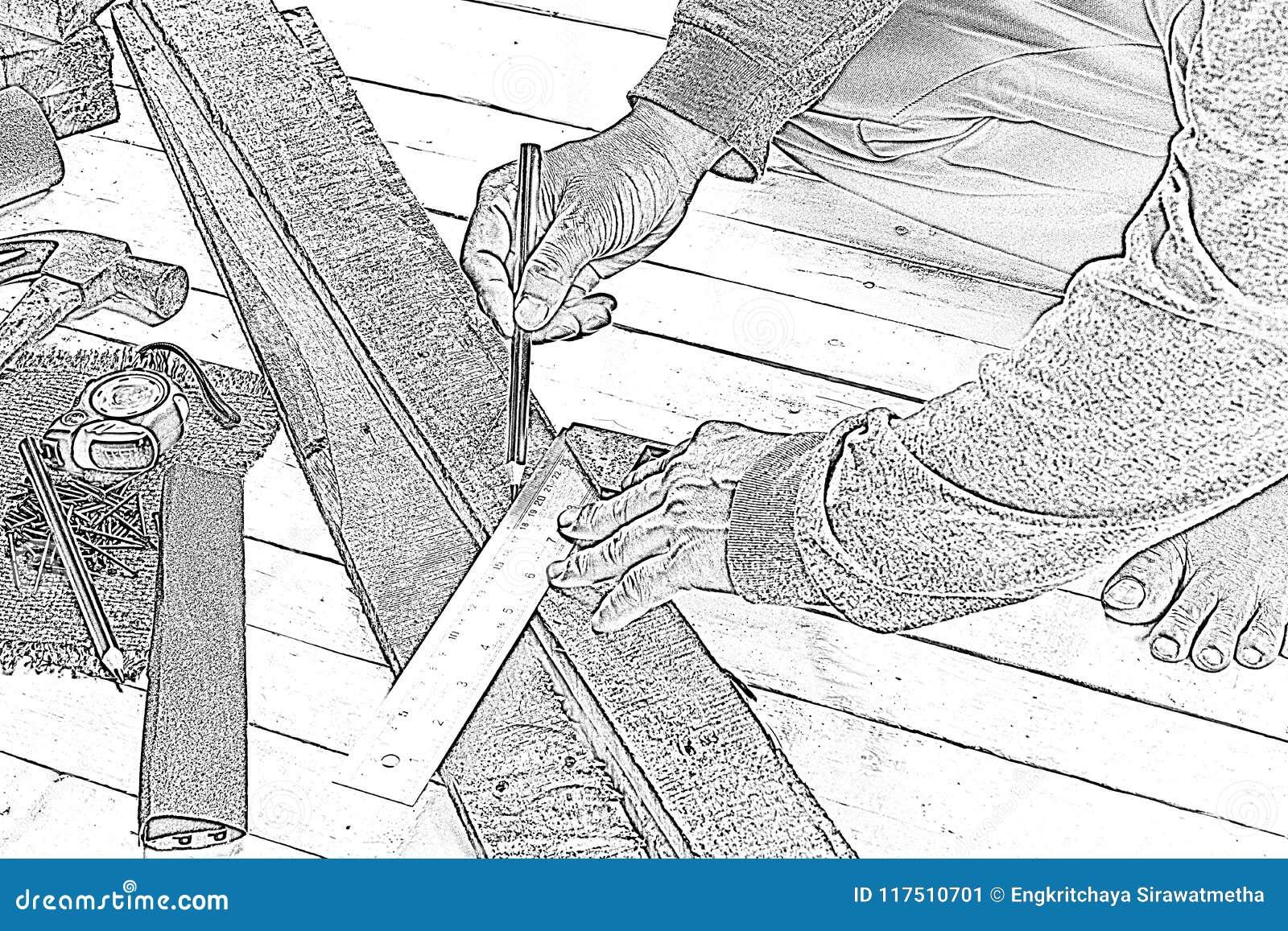 Schets mannelijke timmerman die met houten potlood met machinistvierkant op het werkplaats werken Achtergrondvakmanhulpmiddel Gez