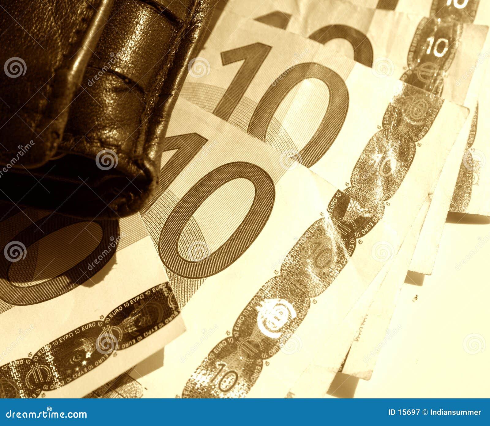 Schets met portefeuille en Euro