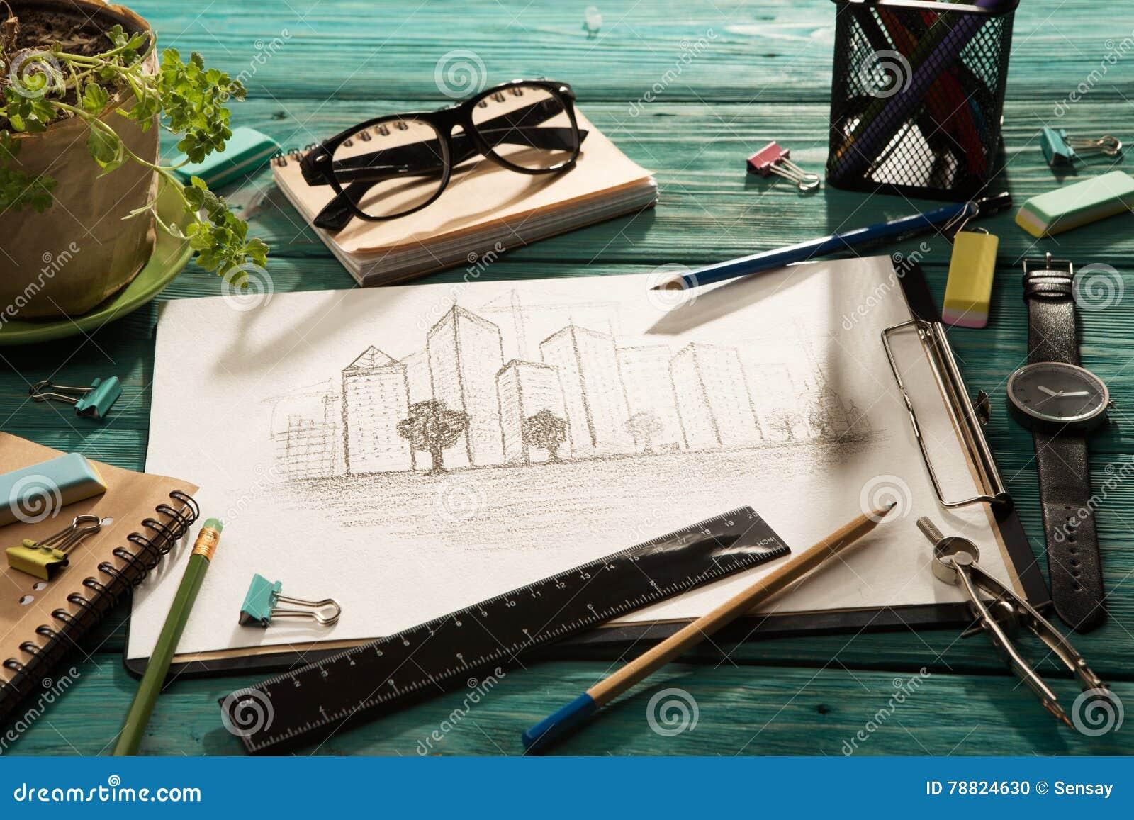 Schets van architectuur op het bureau