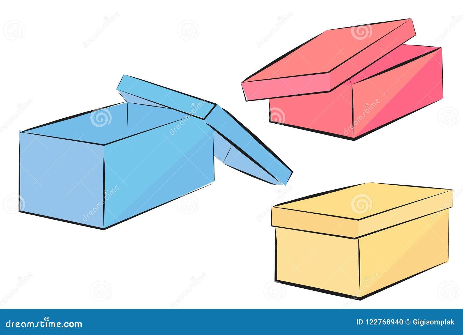 Schets van de blauwe, roze en gele doos van de perspectiefschoen