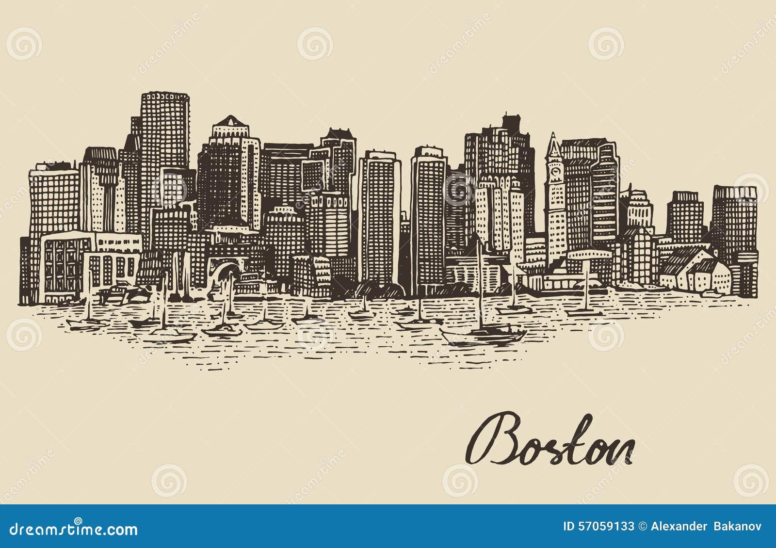Schets van de de horizon de uitstekende vectorillustratie van Boston