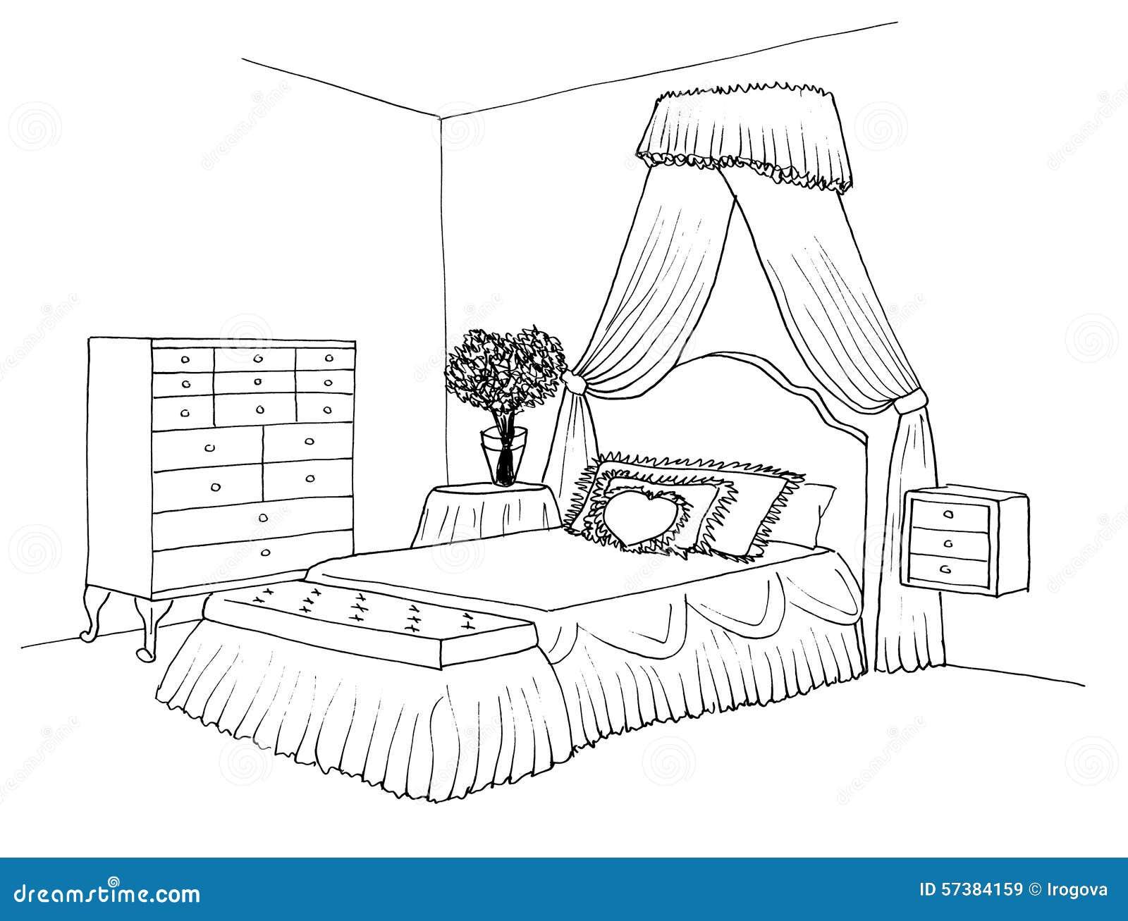Schets van een binnenlandse slaapkamer