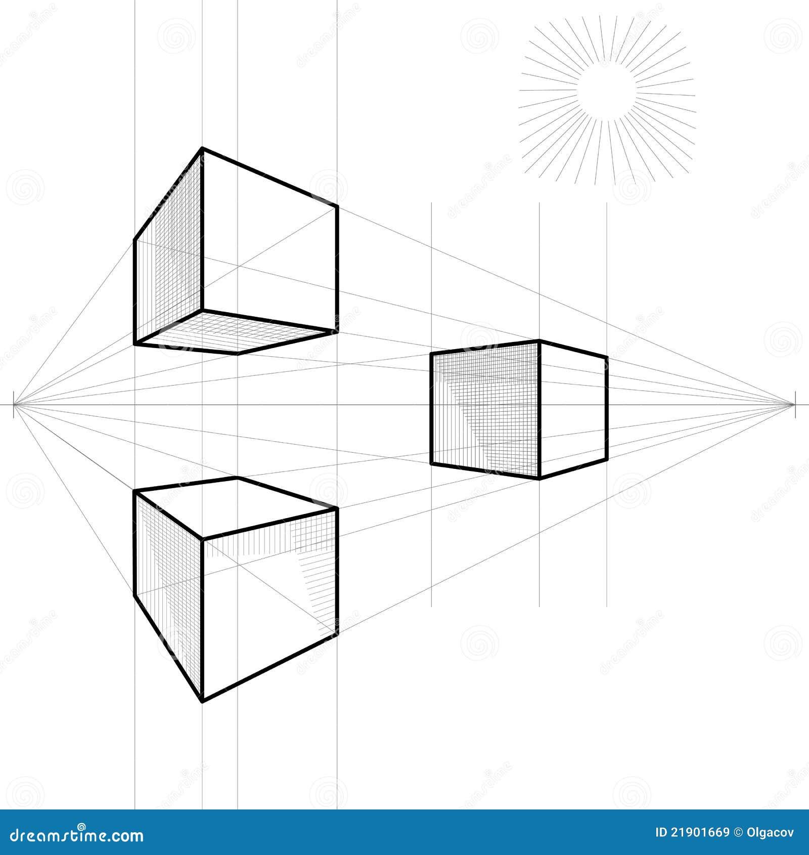 Schets Van Een Kubus In Perspectief Vector Illustratie