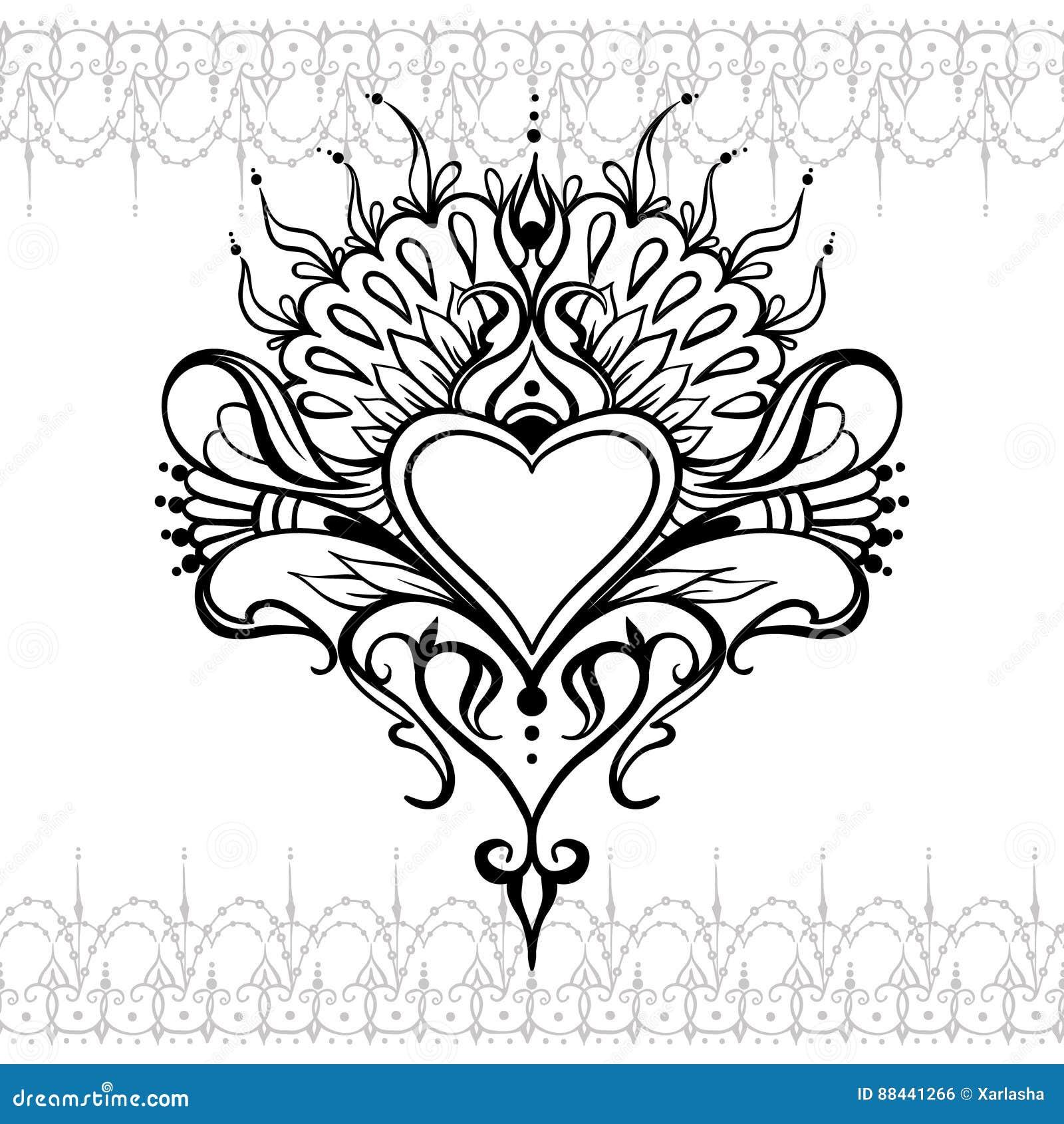 Schets van het hart van de tatoegeringshenna