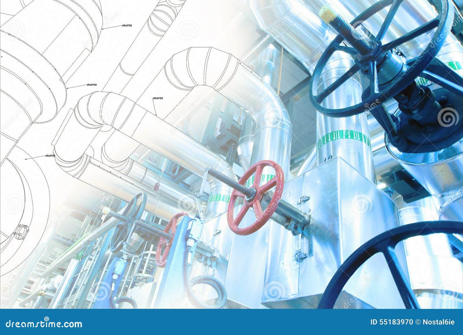 Schets van leidingenontwerp aan industriële materiaalfoto die wordt gemengd