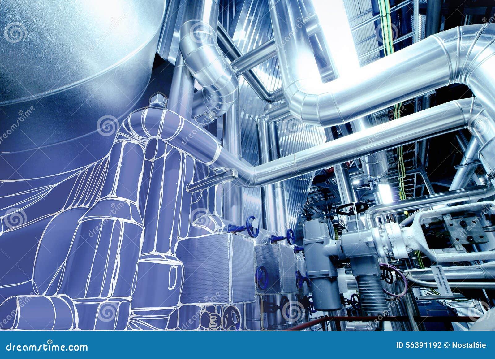 Schets van leidingenontwerp die aan elektrische centralefoto wordt gemengd
