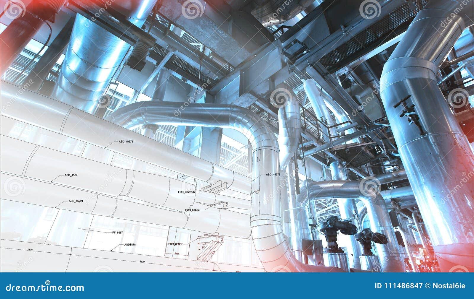 Schets van leidingenontwerp met industriële materiaalfoto s