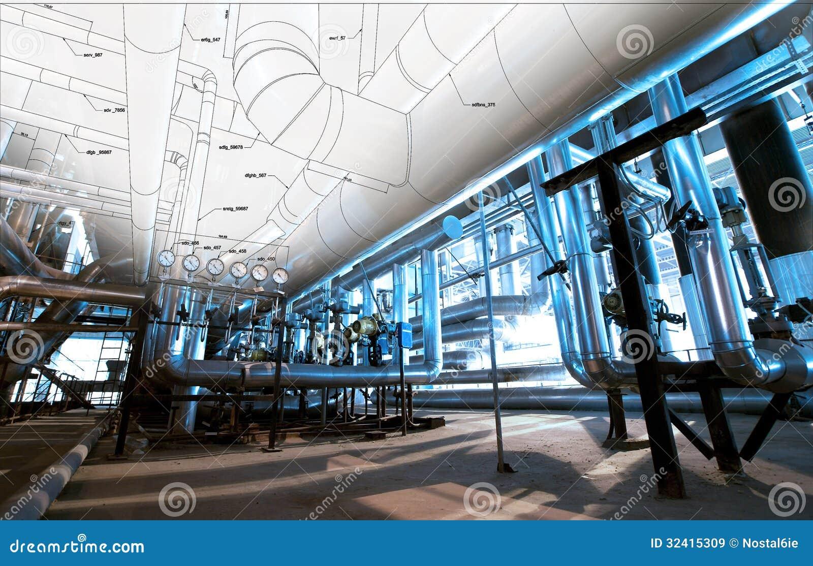 Schets van leidingenontwerp met industriële materiaalfoto s die wordt gemengd