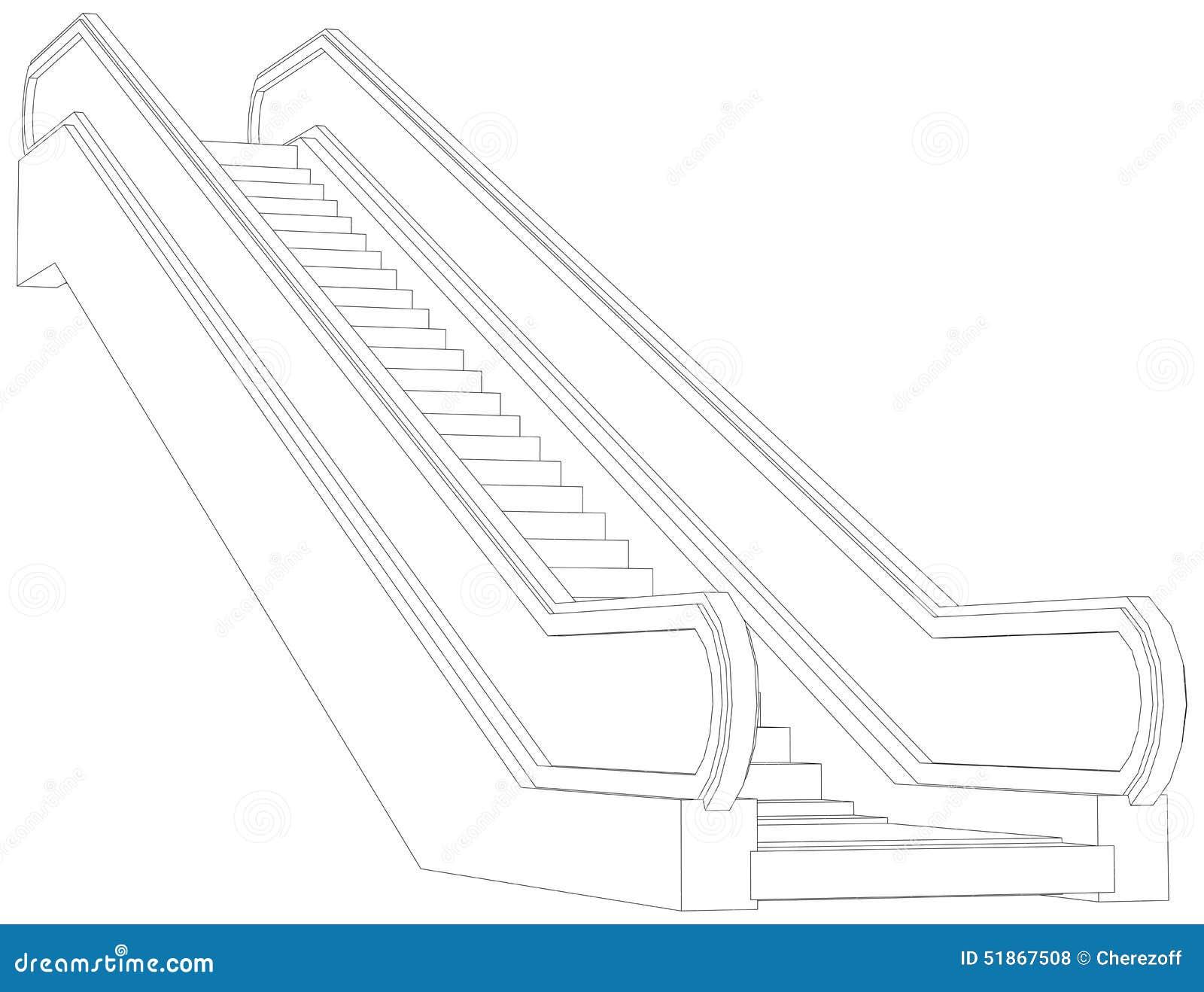Schets van roltrap vector illustratie vector illustratie afbeelding 51867508 - Ontwerp leuning ...