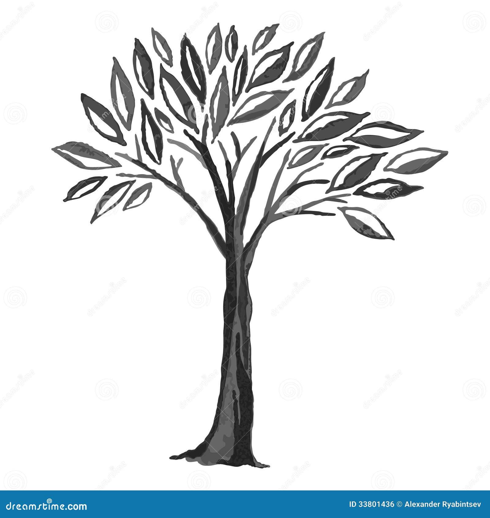 Schets van zwarte boom