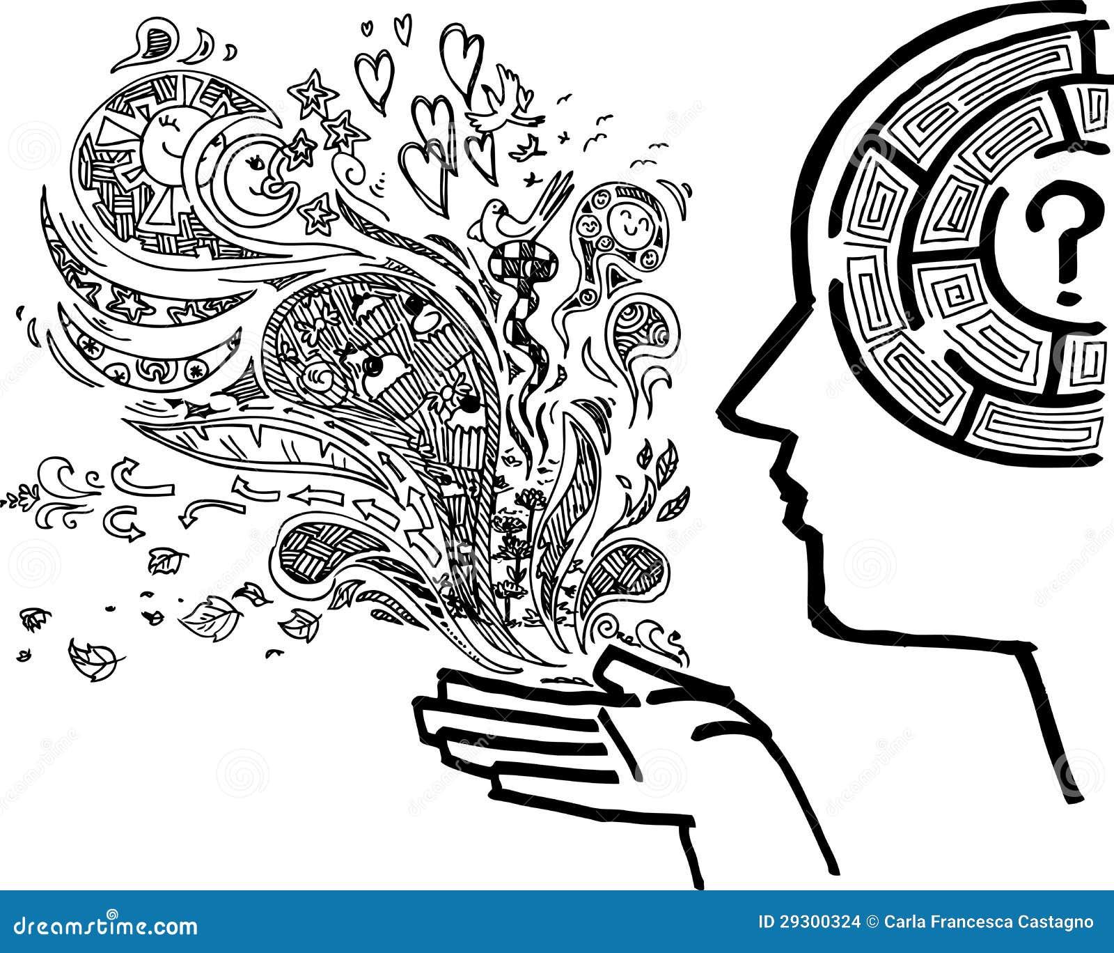 Schetsmatige krabbel van geestelijke gedachten