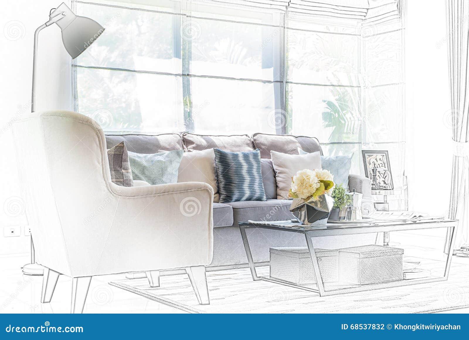Schetsontwerp van moderne woonkamer met moderne stoel en bank stock foto afbeelding 68537832 - Fotos van moderne woonkamer ...
