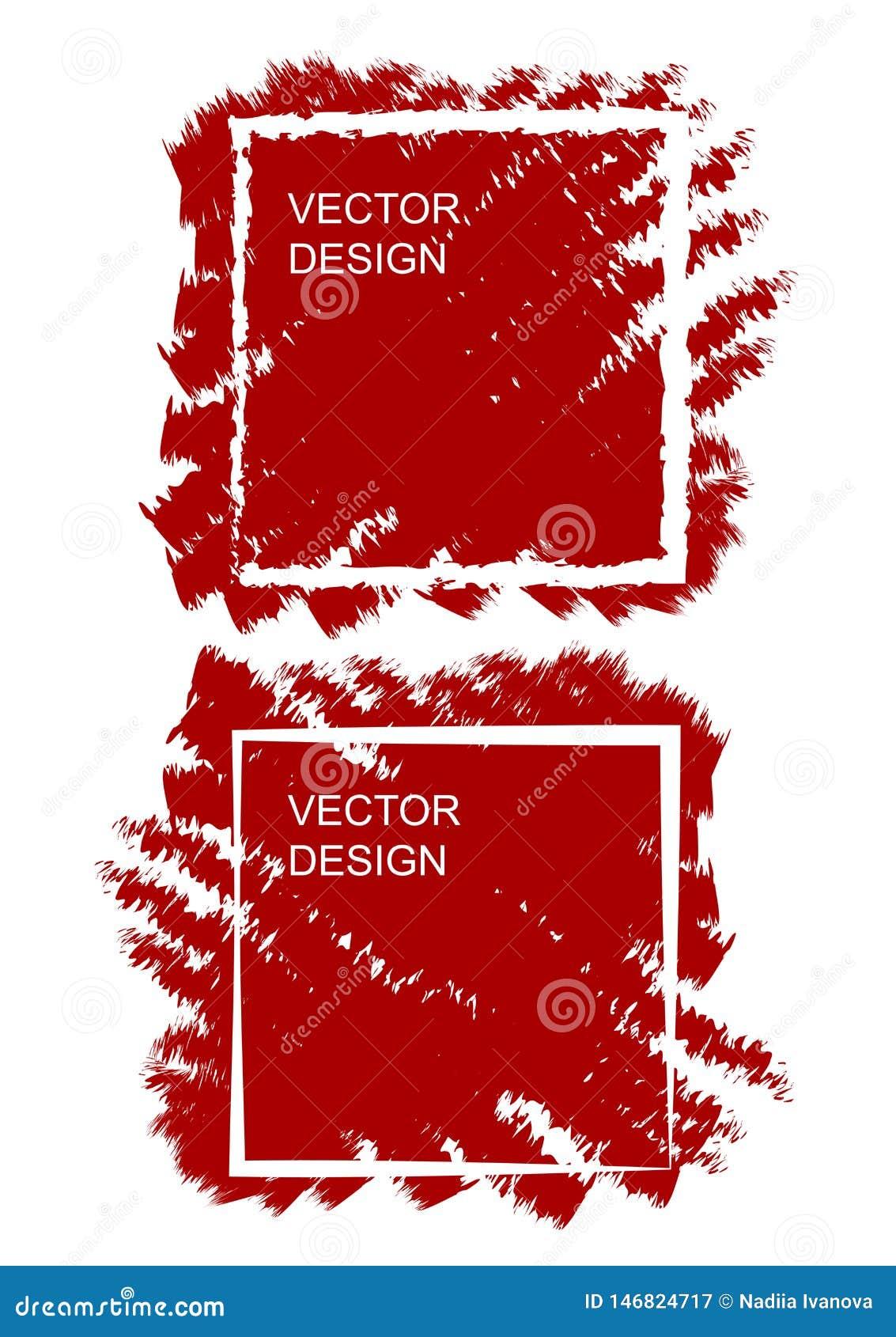 Schetsontwerpsjabloon met vierkante borstelachtergrond voor drukontwerp