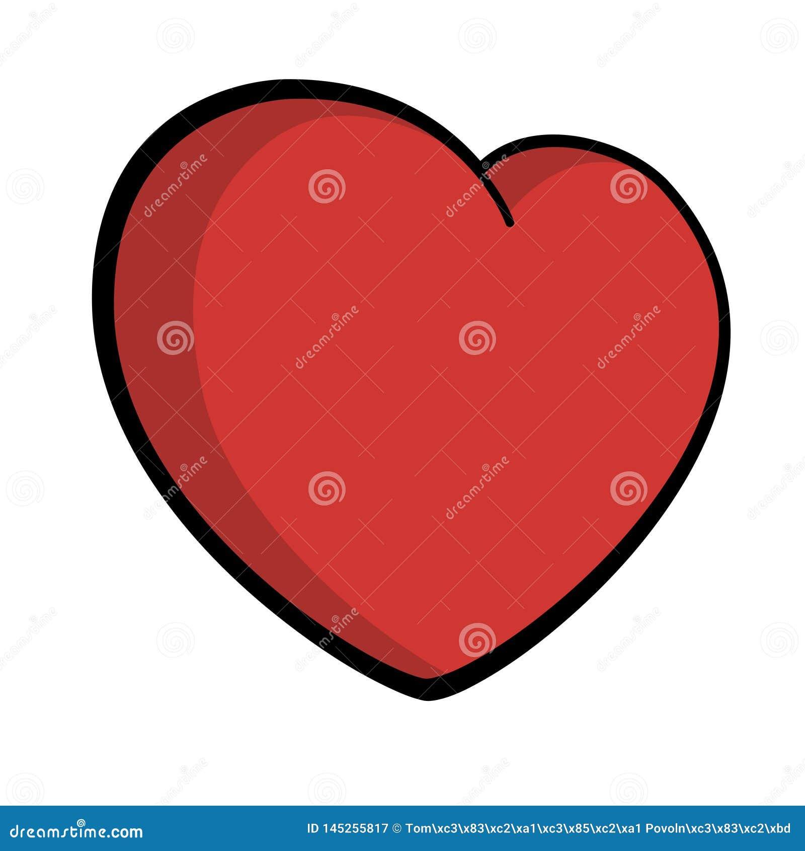 Schetste de Grote rode zwarte het symboolliefde van het hartpictogram in de schaduw gestelde de dagvector van Valentine