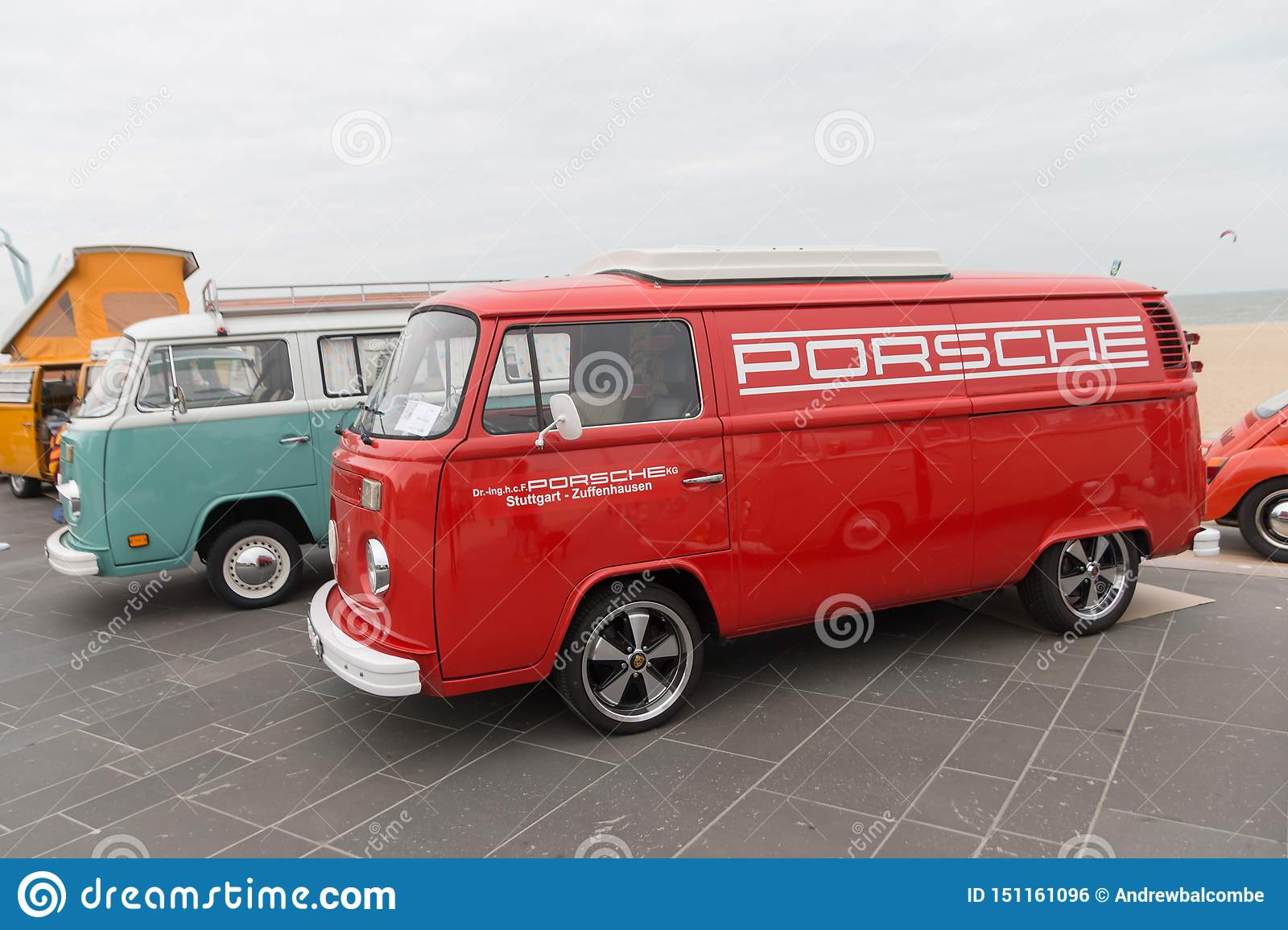 1960s VW Combi With Porsche Logo On The Side Parked At ...