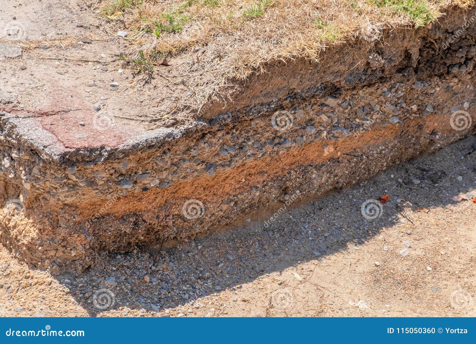 Schicht des Bodens und der Straße