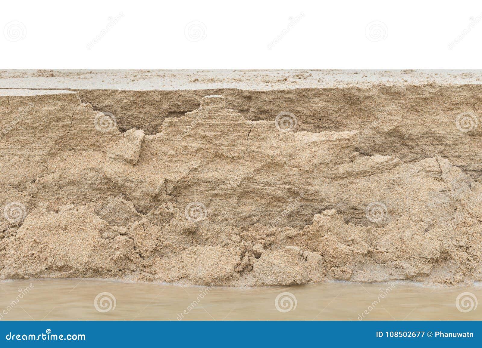 Schicht des Sandes von der Sandabnutzung auf dem Strand Lokalisiert auf Weiß