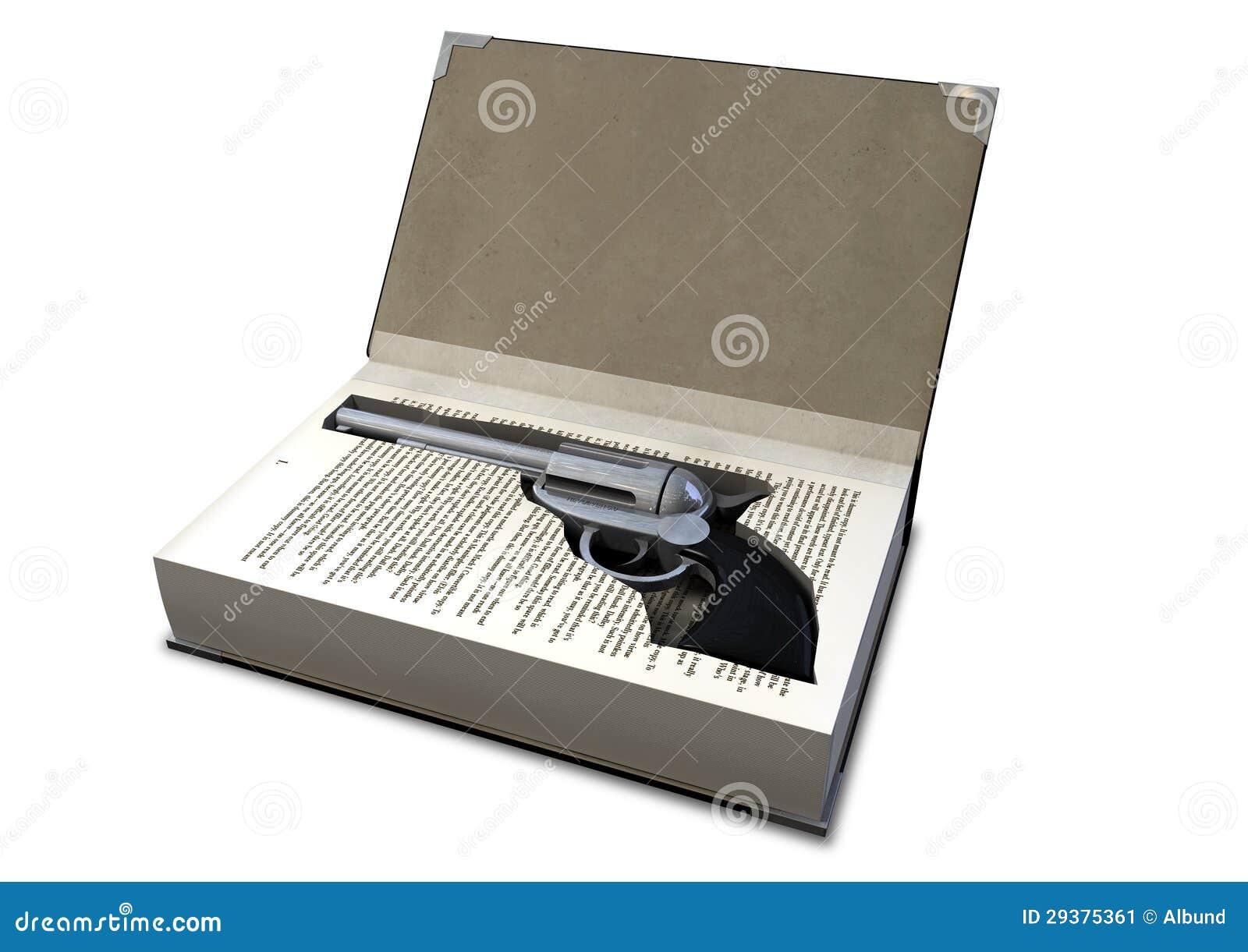 Schießen Sie verborgen in einem Buch