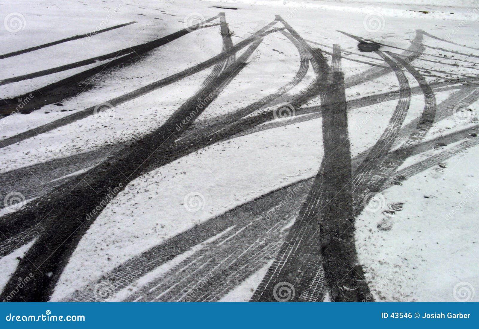 Schienen-Markierungen im Schnee